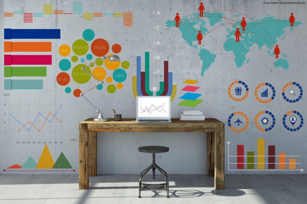Infografik und Diagramm am Arbeitsplatz