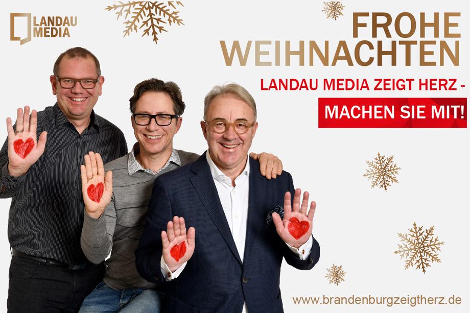 """Landau Media zeigt Herz. Der Medienbeobachter verzichtet auf Weihnachtsgeschenke und unterstützt stattdessen die Initiative """"Brandenburg zeigt Herz""""."""